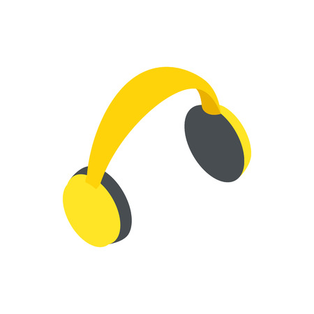plug hat: Yellow protective headphones icon in isometric 3d style on a white background