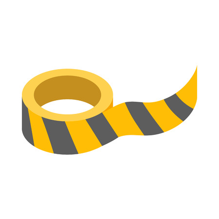 barrier tape: Roll of yellow barrier tape icon in isometric 3d style on a white background