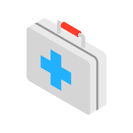 medicine chest: Medicine chest with blue cross icon in isometric 3d style on a white background Illustration