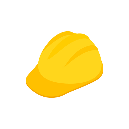 mine site: Yellow hardhat icon in isometric 3d style on a white background