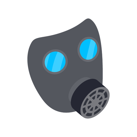 respiratory protection: Black gas mask icon in isometric 3d style on a white background