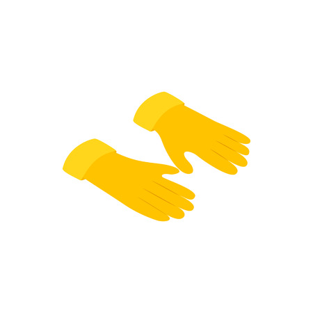 latex glove: Yellow rubber gloves icon in isometric 3d style on a white background Illustration