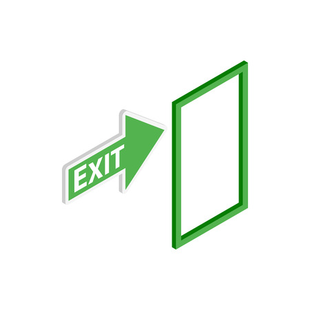 exit sign icon: Green exit sign icon in isometric 3d style on a white background