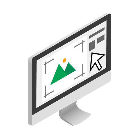 screen type: Computer monitor with printer program icon in isometric 3d style on a white background