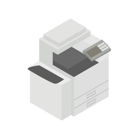 Icono del dispositivo de usos múltiples, fax, copiadora y escáner en 3D isométrica estilo en un fondo blanco Ilustración de vector