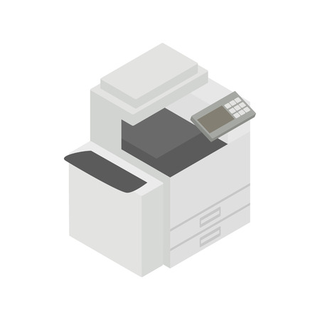 Multipurpose device, fax, copier and scanner icon in isometric 3d style on a white background