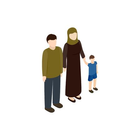 evacuacion: icono de la familia de refugiados en estilo isom�trico 3d aislado en el fondo blanco. La guerra y la evacuaci�n s�mbolo Vectores