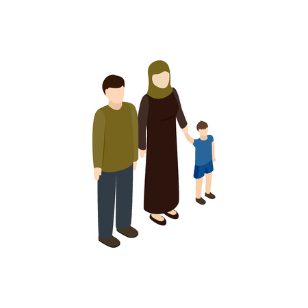 migrant: Refugee family icon in isometric 3d style isolated on white background. War and evacuation symbol