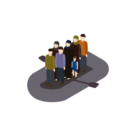Refugees on boat icon in isometric 3d style isolated on white background. War and evacuation symbol