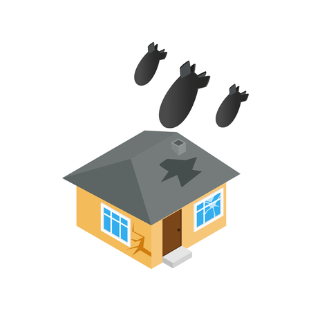 victim war: Bombing of house icon in isometric 3d style isolated on white background. War and evacuation symbol
