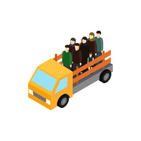 evacuacion: Refugiados en el icono de camiones en 3D isom�trica estilo aislados sobre fondo blanco. La guerra y la evacuaci�n s�mbolo