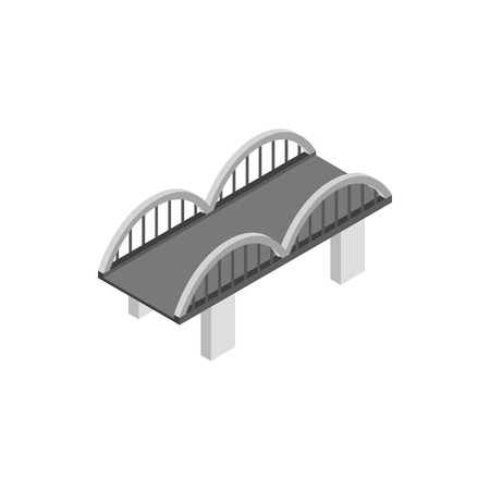 viaduct: Bridge with arched railings icon in isometric 3d style on a white background Illustration