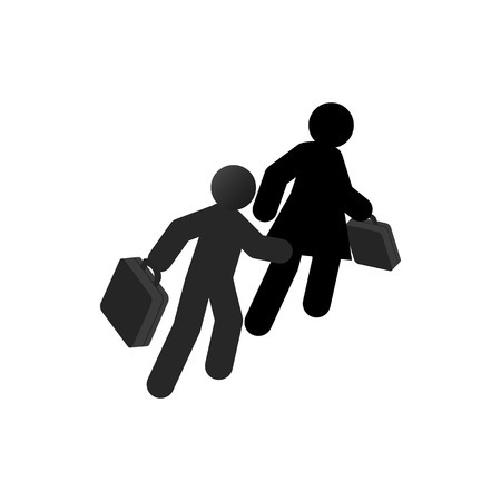 runaway: Refugees with suitcase icon in isometric 3d style isolated on white background. War and evacuation symbol