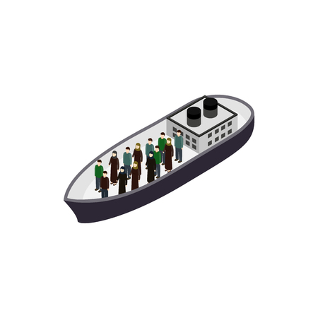 bombing: Refugees on ship icon in isometric 3d style isolated on white background. War and evacuation symbol Illustration