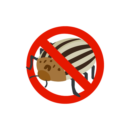 sanitation: Warning sign with colorado potato beetle icon in isometric 3d style isolated on white background. Sanitation and prohibition symbol