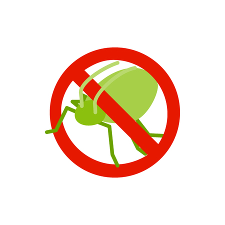 sanitation: Warning sign with grasshopper icon in isometric 3d style isolated on white background. Sanitation and prohibition symbol
