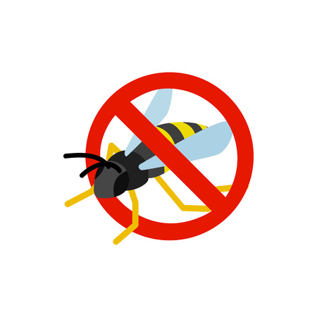 sanitation: Warning sign with wasp icon in isometric 3d style isolated on white background. Sanitation and prohibition symbol