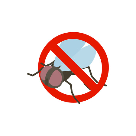 sanitation: Warning sign with fly icon in isometric 3d style isolated on white background. Sanitation and prohibition symbol