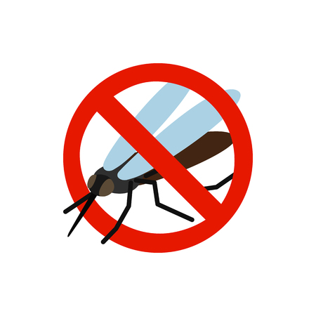 sanitation: Warning sign with mosquito icon in isometric 3d style isolated on white background. Sanitation and prohibition symbol