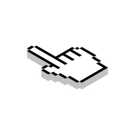 3d cursor: Work with cursor icon in isometric 3d style isolated on white background