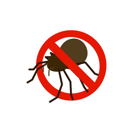 sanitation: Warning sign with bug icon in isometric 3d style isolated on white background. Sanitation and prohibition symbol