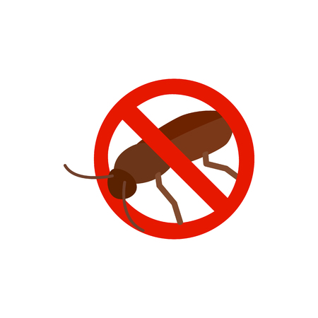 sanitation: Warning sign with cockroach icon in isometric 3d style isolated on white background. Sanitation and prohibition symbol