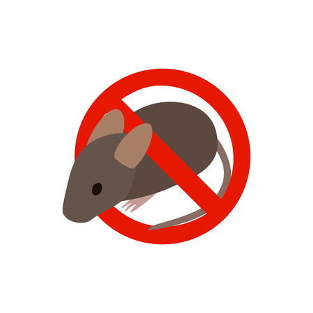 vermin: Warning sign with mouse icon in isometric 3d style isolated on white background. Sanitation and prohibition symbol