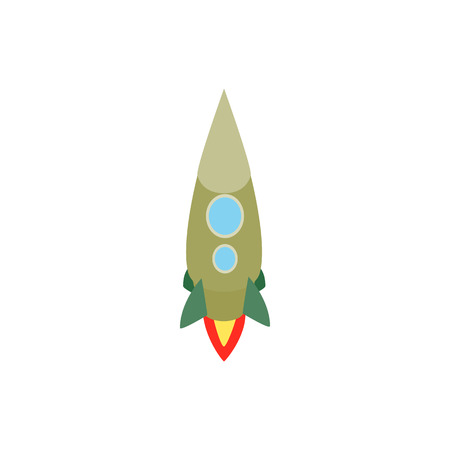 portholes: Green rocket with two portholes icon in isometric 3d style isolated on white background. Space and flight symbol