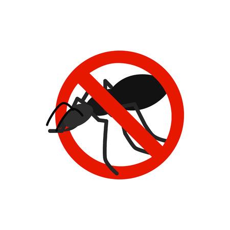 sanitation: Warning sign with black ant icon in isometric 3d style isolated on white background. Sanitation and prohibition symbol Illustration