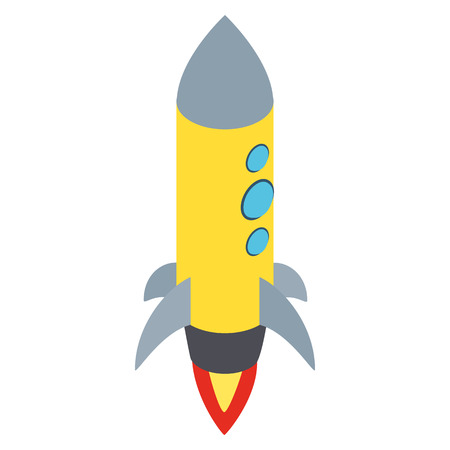 portholes: Yellow rocket with three portholes icon in isometric 3d style isolated on white background. Space and flight symbol Illustration