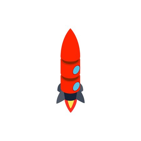 portholes: Red rocket with two portholes icon in isometric 3d style isolated on white background. Space and flight symbol Illustration