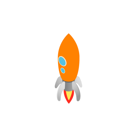 Orange rocket with two portholes icon in isometric 3d style isolated on white background. Space and flight symbol Illustration