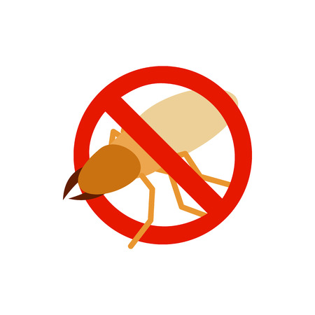 sanitation: Warning sign with beetle stag icon in isometric 3d style isolated on white background. Sanitation and prohibition symbol