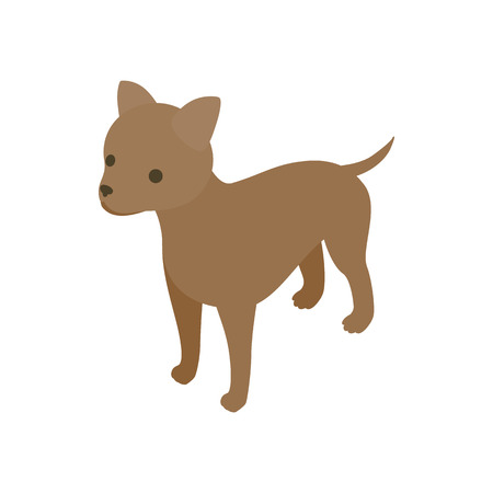 sleuth: Puppy dog icon in isometric 3d style isolated on white background. Animals symbol