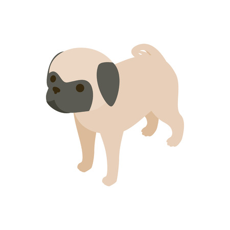 pug dog: Pug dog icon in isometric 3d style isolated on white background. Animals symbol