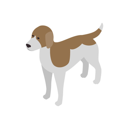 watchdog: Beagle dog icon in isometric 3d style isolated on white background. Animals symbol