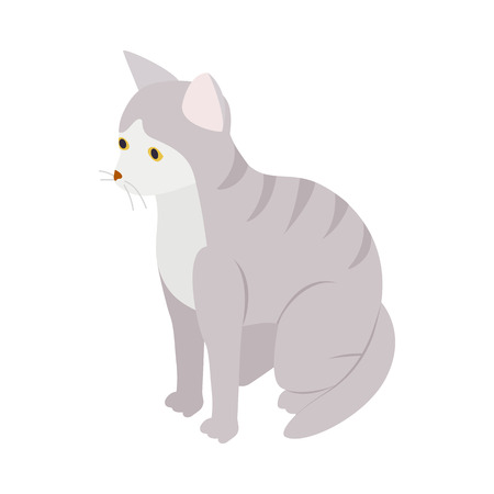 tabby: Gray tabby cat icon in isometric 3d style isolated on white background. Animals symbol
