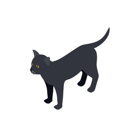 Black Cat Icon In Isometric 3d Style Isolated On White Background
