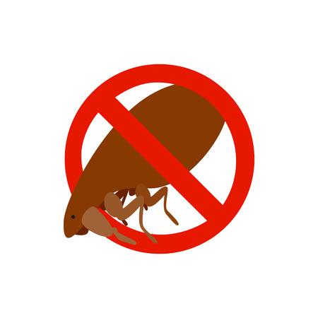 sanitation: Warning sign with flea icon in isometric 3d style isolated on white background. Sanitation and prohibition symbol Illustration