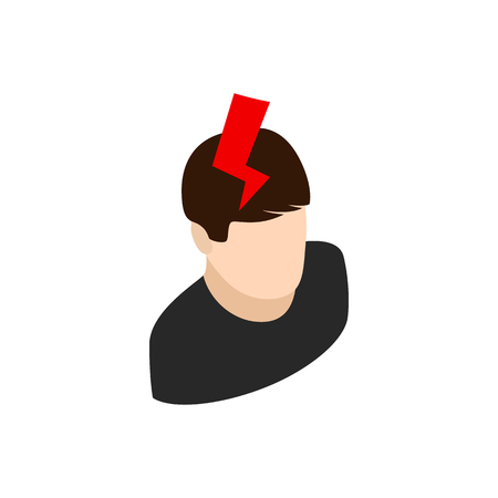 3d lightning: Head with lightning icon in isometric 3d style isolated on white background Illustration