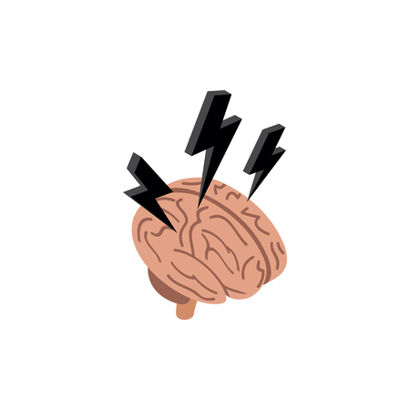 3d lightning: Brain with a lightning icon in isometric 3d style isolated on white background