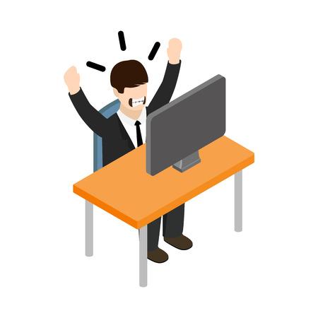 Stress situatie op het werk pictogram in isometrische 3D-stijl op een witte achtergrond Vector Illustratie