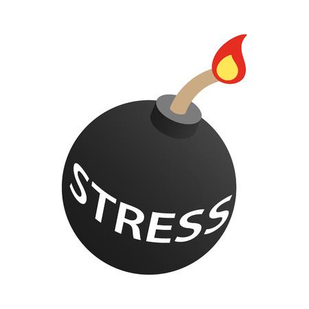 Stress bomb with burning fuse icon in isometric 3d style isolated on white background