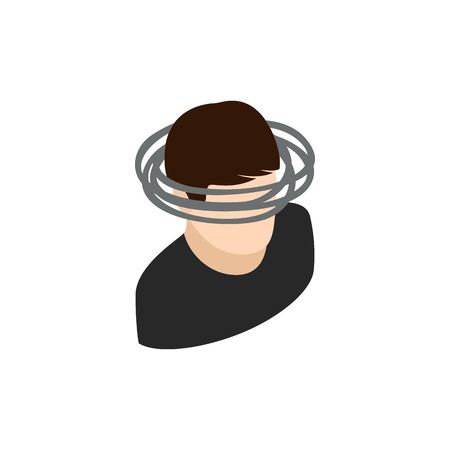 disorganized: Dizzy head icon in isometric 3d style isolated on white background