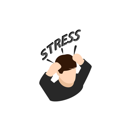 Stressed businessman put hands on the head icon in isometric 3d style isolated on white background