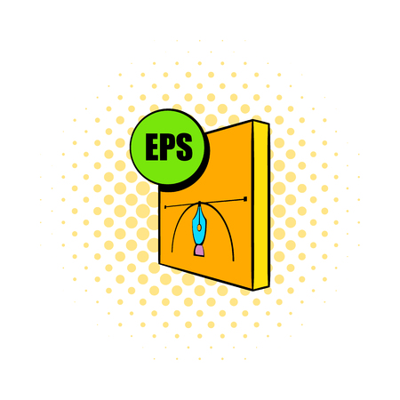 encapsulated: EPS file icon in comics style on a white background Illustration