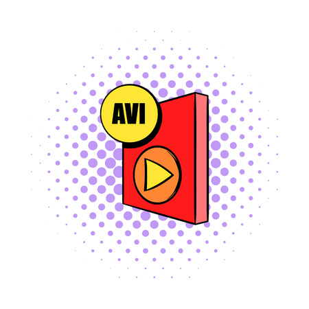 avi: AVI file icon in comics style on a white background