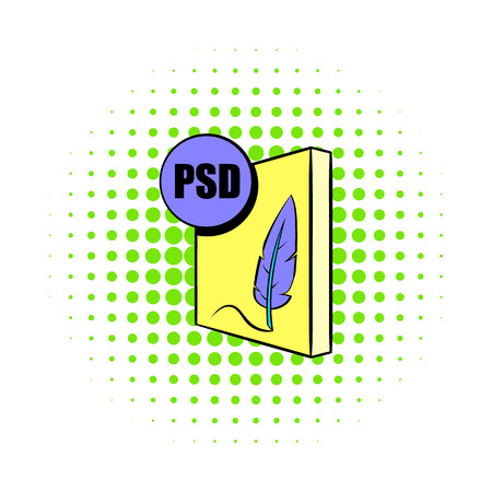 psd: PSD file icon in comics style on a white background