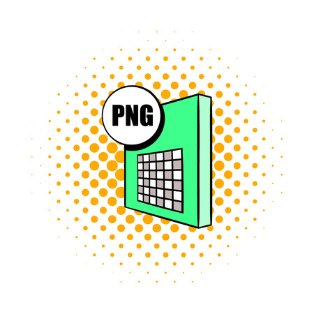 png: PNG file icon in comics style on a white background