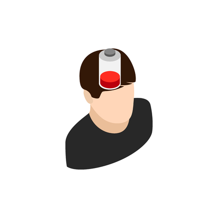 unplug: Man with low battery icon in isometric 3d style isolated on white background
